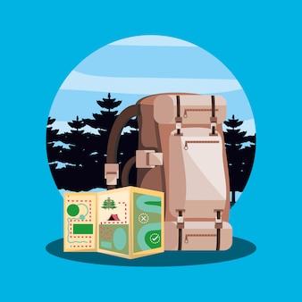 風景の地図とキャンプのバッグ