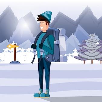 キャンプの雪地帯で男観光客