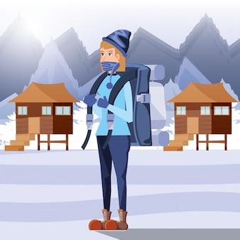 キャンプの雪地帯で女性観光客