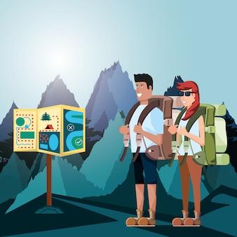 風景とアイコンを持つ観光客のカップル