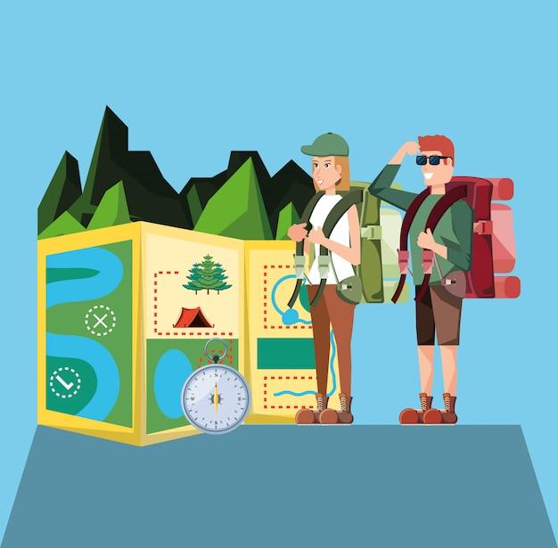 Пара туристов с пейзажем и иконами