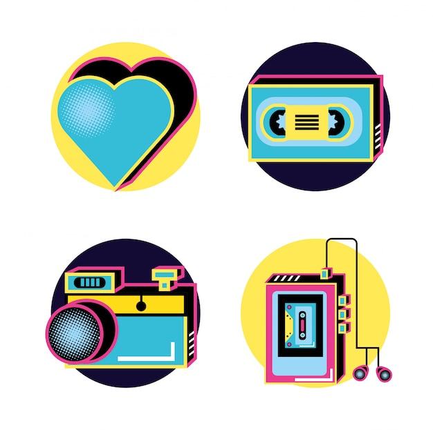 Девяностые ретро набор иконок