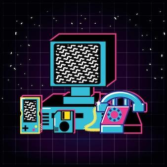 古いレトロなコンピューターとセットのアイコン