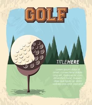 ボールとゴルフクラブレトロなバナー