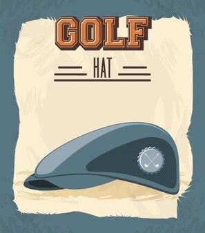 帽子とゴルフクラブレトロなバナー