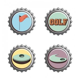 Гольф-клуб тюленей набор иконок