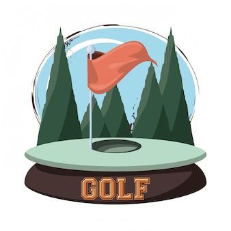 Эмблема гольф-клуба с отверстием флаг