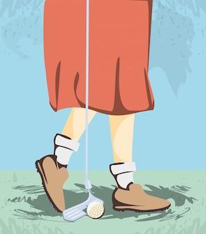 ゴルフコースの女性ゴルファーの足