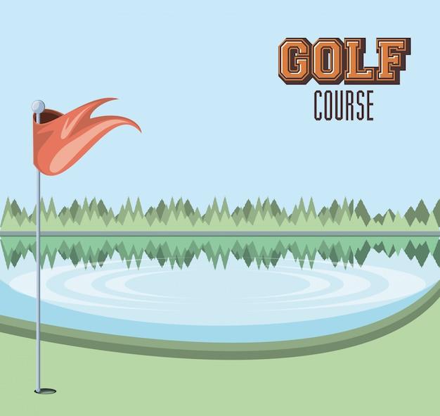 Проклятие гольфа с озерной сценой