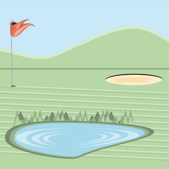 Проклятие гольфа с песколовкой и озером