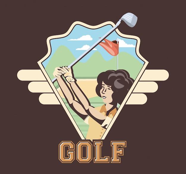 コースのゴルフプレーヤーの女性