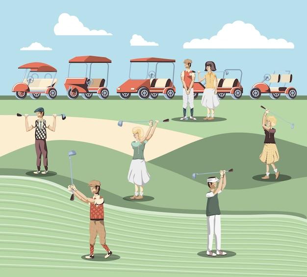 コース内のゴルフプレーヤーの人々