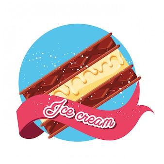 おいしいブラウニーとアイスクリーム