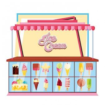 アイスクリームキオスクとショーケース