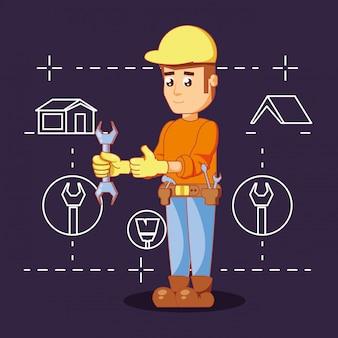 Строитель персонаж с иконами ремонта дома