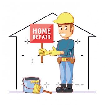 家の修理アイコンとビルダーキャラクター