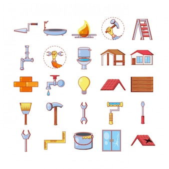 Ремонт дома с помощью инструментов набор иконок
