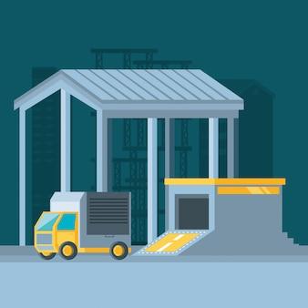 Здание склада с доставкой грузовиков