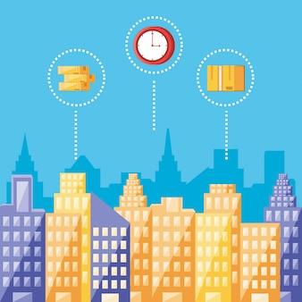 都市の景観分離アイコンと物流サービス