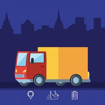 Логистический сервис доставки грузовик изолированных значок