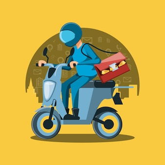 Курьер человек логистического сервиса на мотоцикле