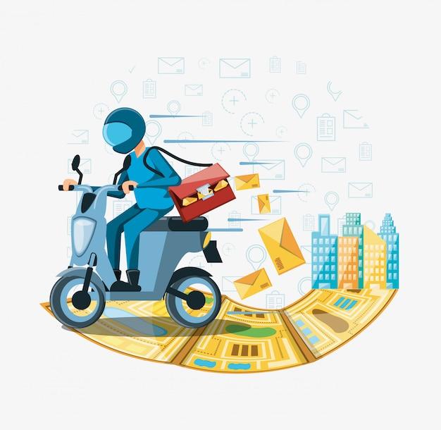オートバイの物流サービスの宅配便の男