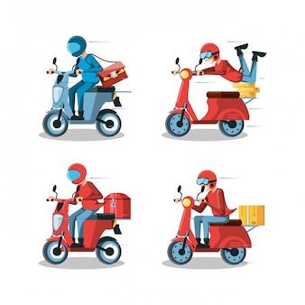 オートバイの物流サービスの宅配便の男性