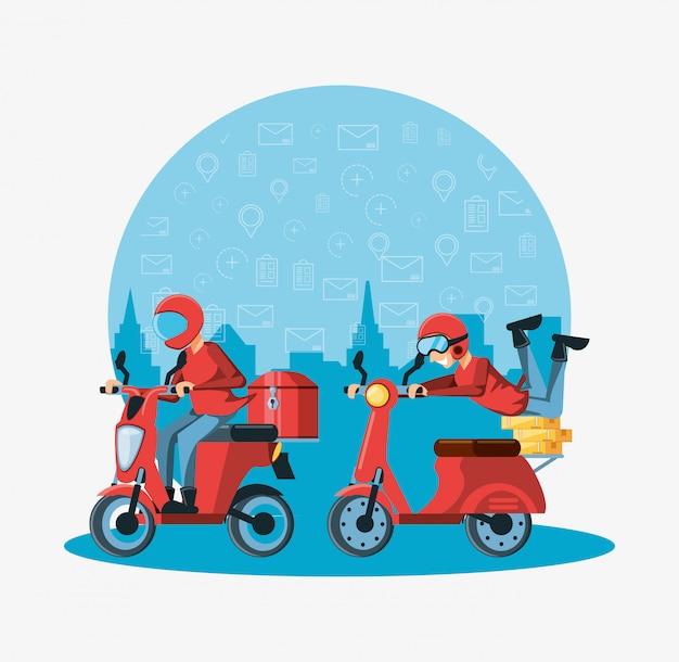 Курьер мужчины логистического сервиса на мотоцикле