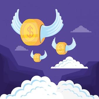 Доллар монеты летающих изолированных значок