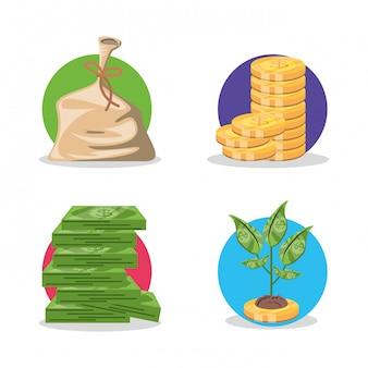 お金と植物でお金を袋に入れる