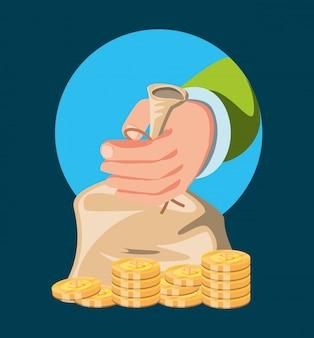 お金の袋を持つ手