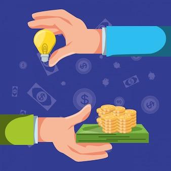 Руки с набором иконок экономики финансов