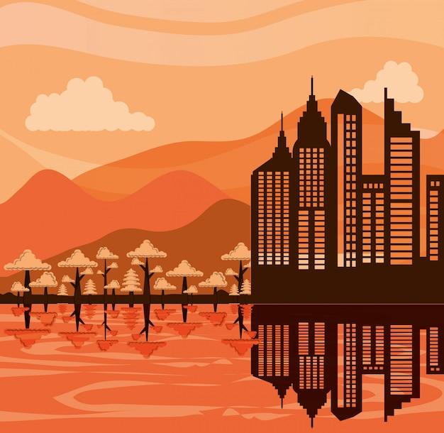 Городской пейзаж со сценой зданий