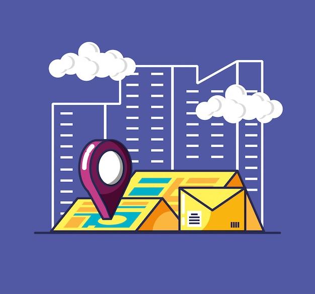 配送サービスの封筒とアイコン