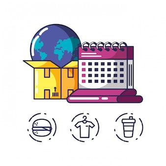 Служба доставки упаковочная коробка и значки