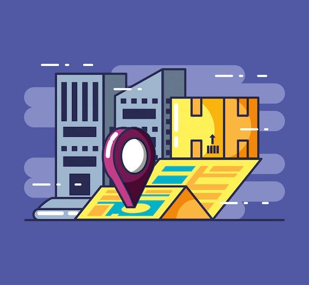 配送サービスの建物とボックス