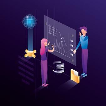 データセンターのネットワークアイコンとビジネスカップル