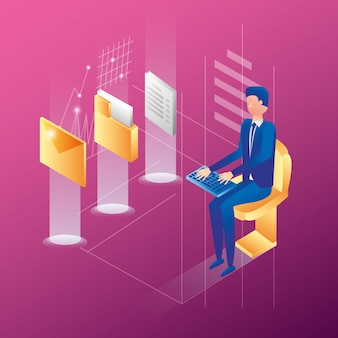 Бизнесмен с значками сети центра данных