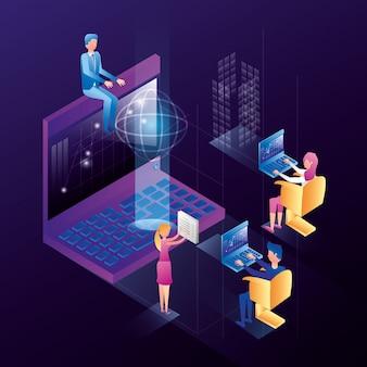 データセンターのネットワークアイコンを持つビジネス人々