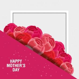 Счастливая мать день открытка с цветами