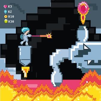 Классическая сцена видеоигры с воином и пламенем