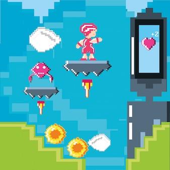 Классическая сцена видеоигры с воином