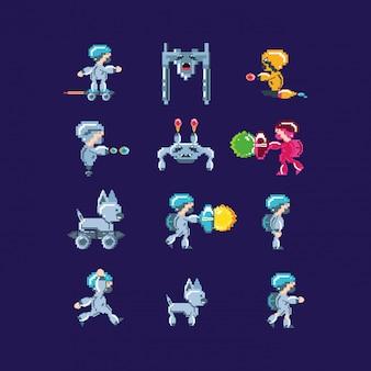 Набор символов классической видеоигры