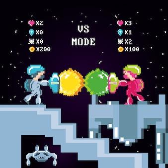 Классическая сцена видеоигры с битвой воинов