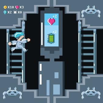 Классическая сцена видеоигры с воином на лестнице