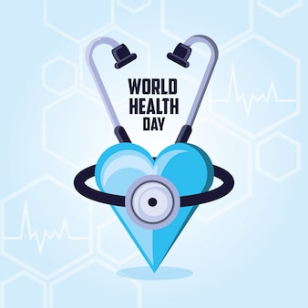 聴診器で世界保健デーカード