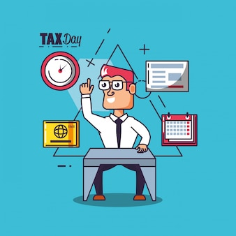 Налоговый день с бизнесменом и набор иконок