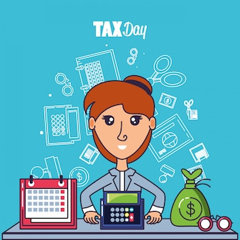 実業家と設定アイコンの税の日