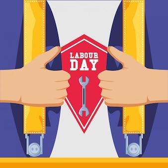 オーバーオールとツールを備えた労働者の日