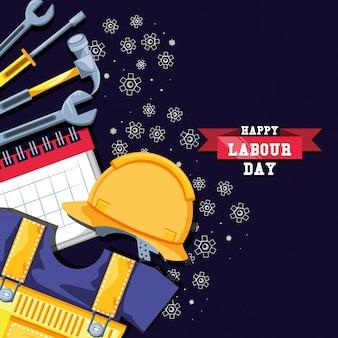 Счастливый день труда с защитным шлемом и значками